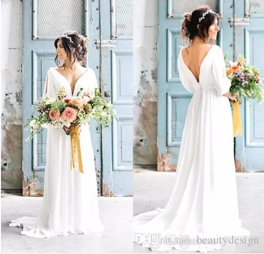 The Best Grecian Style Wedding Dresses: Sexy V Neck Backless Greek Wedding Dresses 2017 Robe De