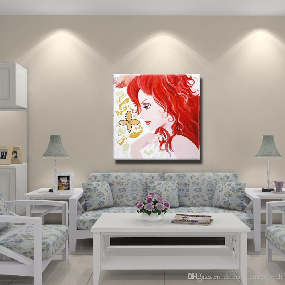 Beautiful Pictures on Wall Modern Canvas Art Home Decor Bedroom Wall Pictures Chinese Girl Oil Painting 1 Peices No framed
