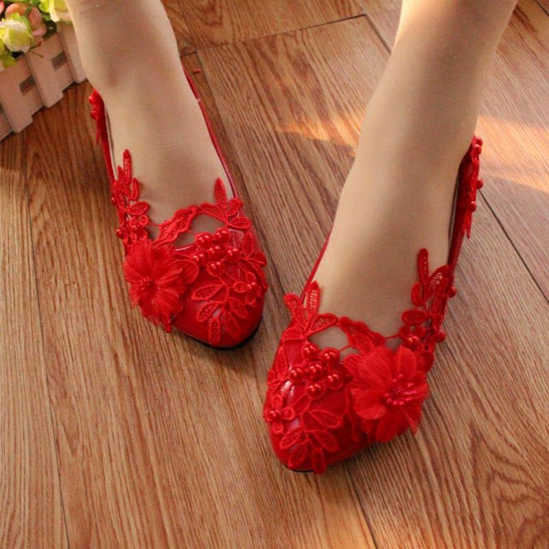 4dd6fa6f1737 The Big Red Shoes with Low Bridesmaid Wedding Shoes Flat Shoes ...