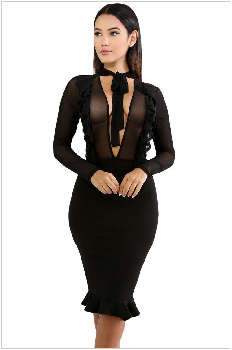 Großhandel Mesh Stitching Long Sleeve Bodycon Kleider 2017 Neue Sexy ...
