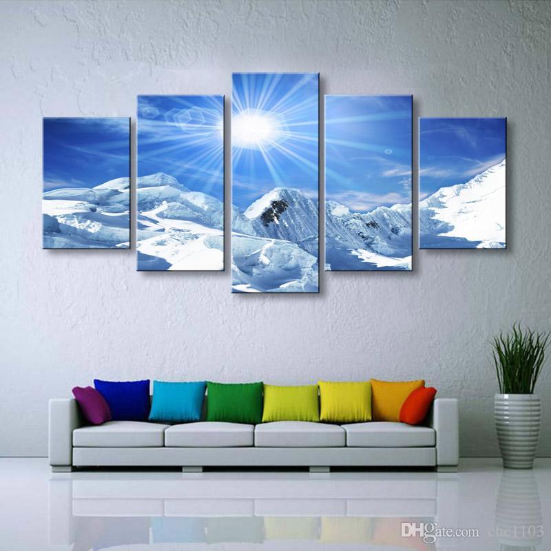 5 штук высокой четкости печати Снег горный пейзаж холст картины маслом плакат и искусство стены гостиной картина PL5-209