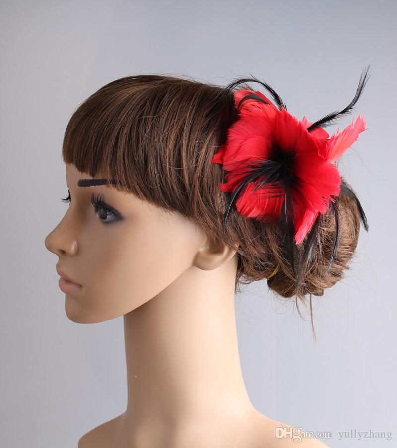Classical color fascinator headwear colorful mesh feather flower party show hair clip accessories millinery cocktail hat MYQ099