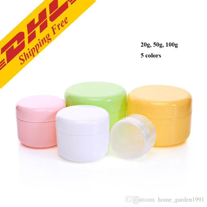 DHL FREE 20g 50g 100g 250g transparent large round bottle Cosmetic Empty Jar Pot Eyeshadow Lip Balm Face Cream Sample Container 5 colors