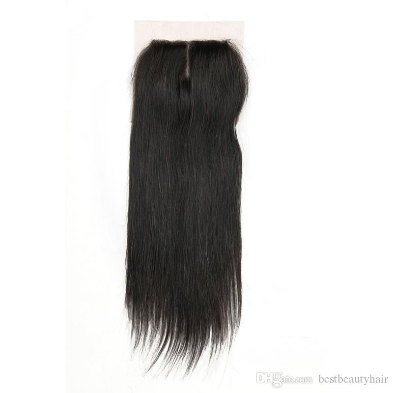 7A fasci brasiliani indiani malesi dei capelli dei pacchi non trattati di capelli umani del tessuto di remy con chiusura estensioni diritte brasiliane dei capelli del virgin