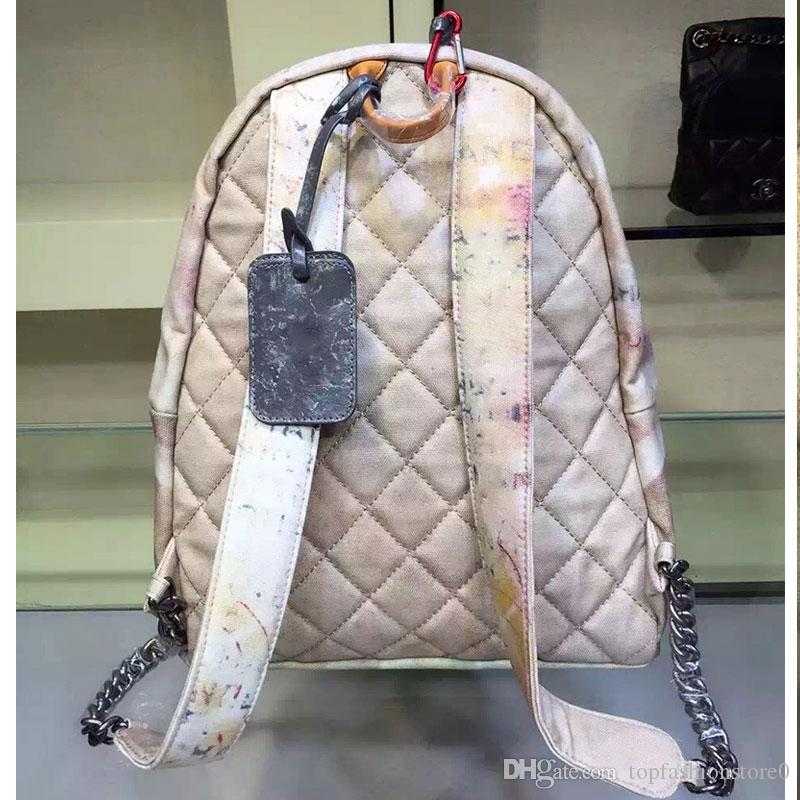 Travel Bags Graffiti Color Retro Shoulder Backpack Catwalk Women Casual Canvas Bag Classic Doodle Limited Edition Bags 64