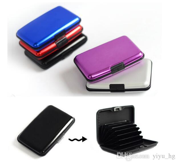 Porte-cartes d'identité de crédit Portefeuille pour hommes fabriqué en aluminium et plastique avec sélections multi-couleurs Surface dure Nouveaux accessoires de mode