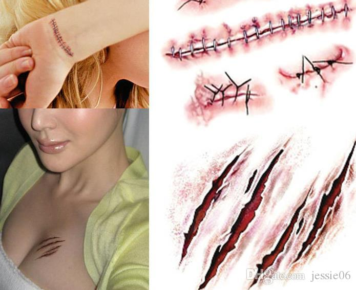 """Résultat de recherche d'images pour """"Hot sale Halloween Zombie Scars Tattoos With Fake Scab Bloody Makeup Halloween Decoration Wound Scary Blood Injury Sticker"""""""
