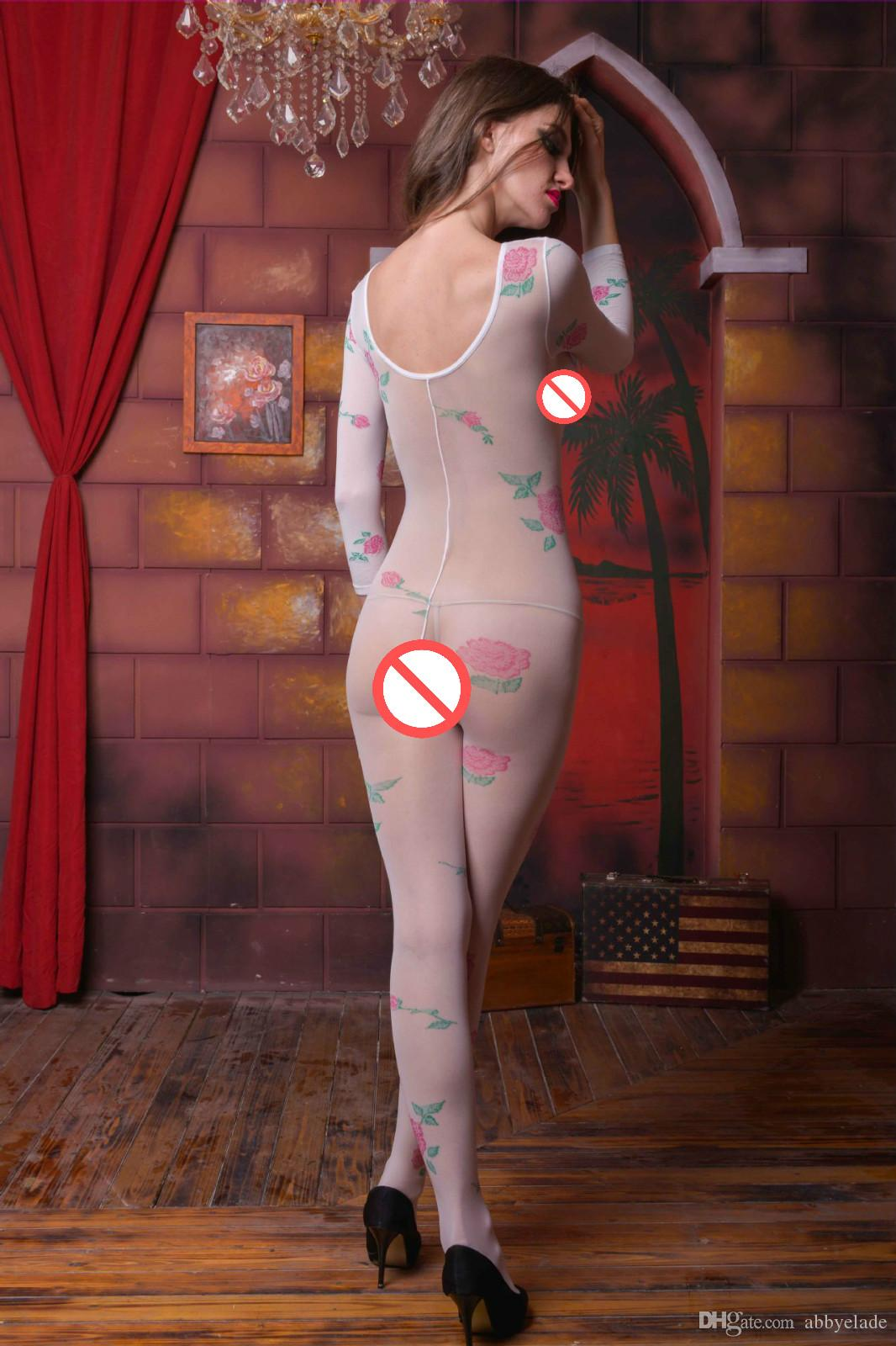 Estilo europeu Mulheres Bodystocking Rose Virilha Aberta Pantyhose Fetiche Bodysuit Feminino pj Sexy Bodysuit Perspectiva corpo Lingerie Sexy Underwear