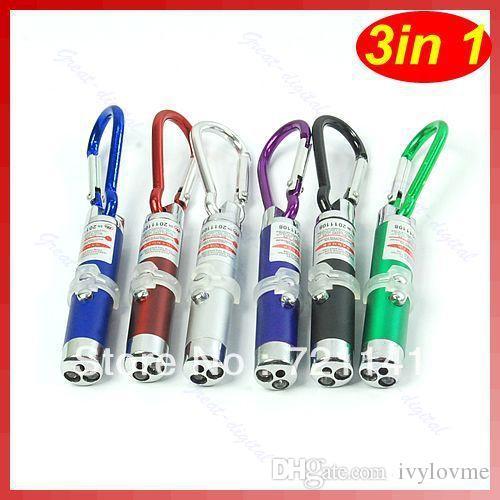 Multi-fonctionnelle Mini 3 in1 LED Lumière Laser Pointeur Clé Chaîne Lampes de Poche Torche Lampe de Poche Porte-clés Money Détecteur Lumière Laser Lampes de Poche