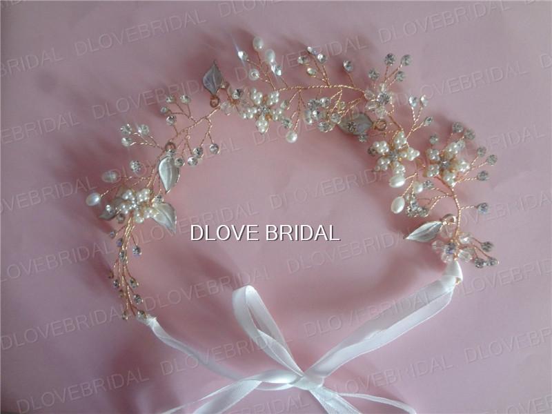 Elegant Fairy Hairband 100% Handmade Real Photo Pearls Beaded Bridal Wedding Hair Accesory with Ribbons Silver Rose Gold Headband Headpieces