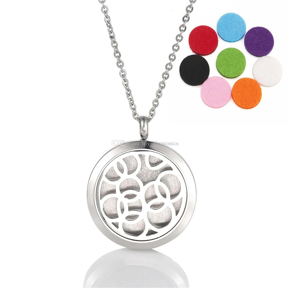 The Olympic Rings Aromatherapy Pendant Diffuser Essential Oil 316L Stainless Steel Locket Necklace with 8 Refill Pads