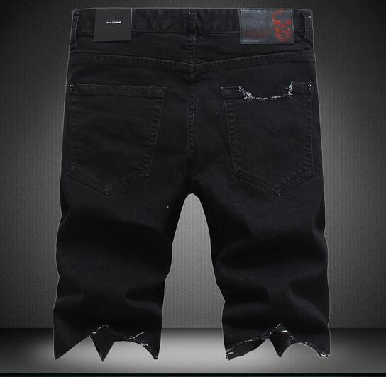 Nuovi pantaloni corti degli uomini di arrivo vestiti Pantaloncini estivi marea europea marchio di moda hiphop Pantaloni sottili sottili jeans marea sottile foro degli uomini