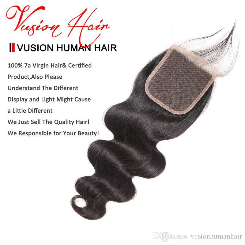바디 웨이브 브라질의 머리카락은 4x4의 Closure Unplacessed Human Hair Extensions의 밍크 Brazlilian Body Wave Closure