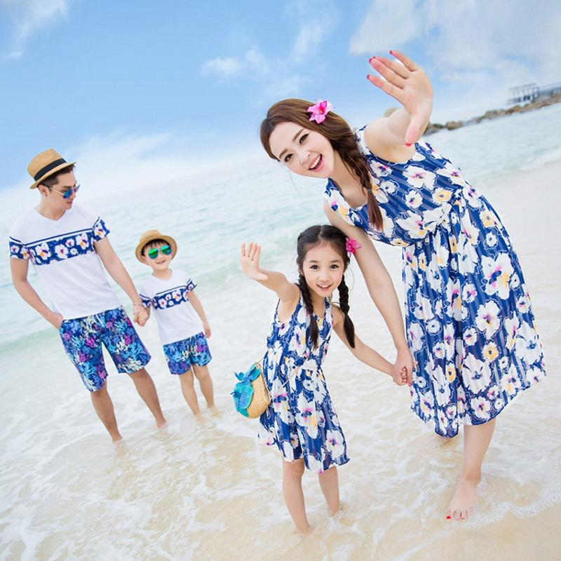 Family Matching Outfit Blue Flower Family Clothing Set