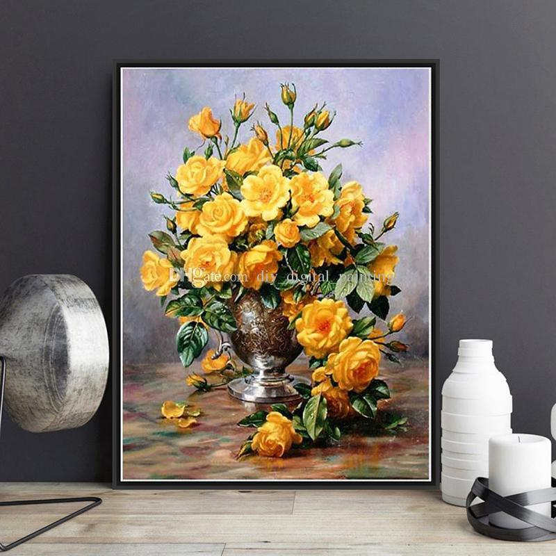 2019 Framed On Canvas Diy Digital Oil Painting By Numbers Wall Yellow Flower Vase Painting Acrylic Painting Hand Painted Home Decor For Living From ... & 2019 Framed On Canvas Diy Digital Oil Painting By Numbers Wall ...