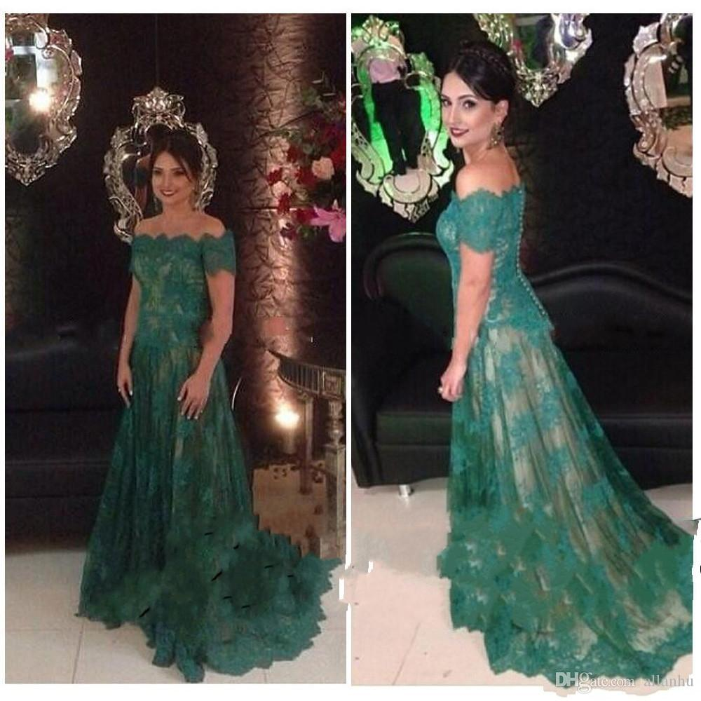 695d8673d04 Dark Green Full Lace Mother Of The Bride Dresses Short Sleeves Off Shoulder  Mother Of Groom Dresses Plus Size Cheap Evening Gowns Custom Mother Of The  Bride ...