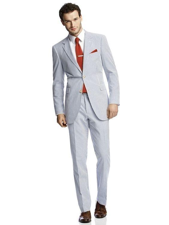 b3bc02e8eea 2019 2 Style For Choose 2016 Summer Wedding Seersucker Tuxedos Notch Lapel  Wedding Suits For Men Best Mens TuxedoJacket+Pants+Bowtie From  Orandosuitltd
