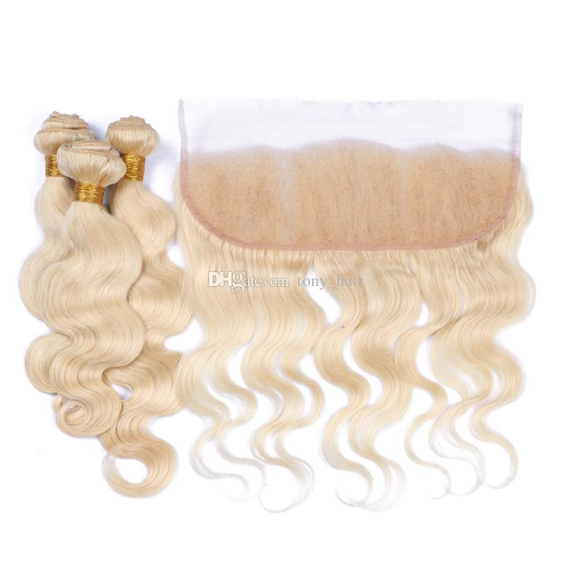 Rusian 613 Blonde 13x4 Encaje Frontal Cierre con tejidos Bleach Blonde Virgin Russian 3Bundles Hair Con Body Wave Lace Frontal