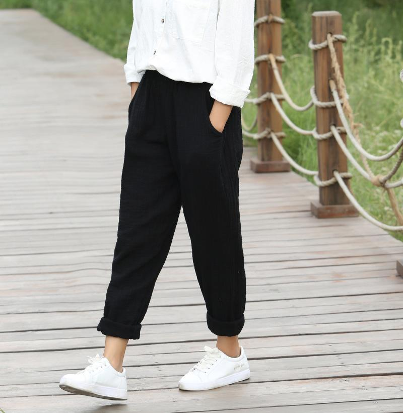 Elastic waist Solid Cotton Women Harem Pants Black White Red Yellow Casual Harem Pants Summer Street Brand Design Trousers 5075
