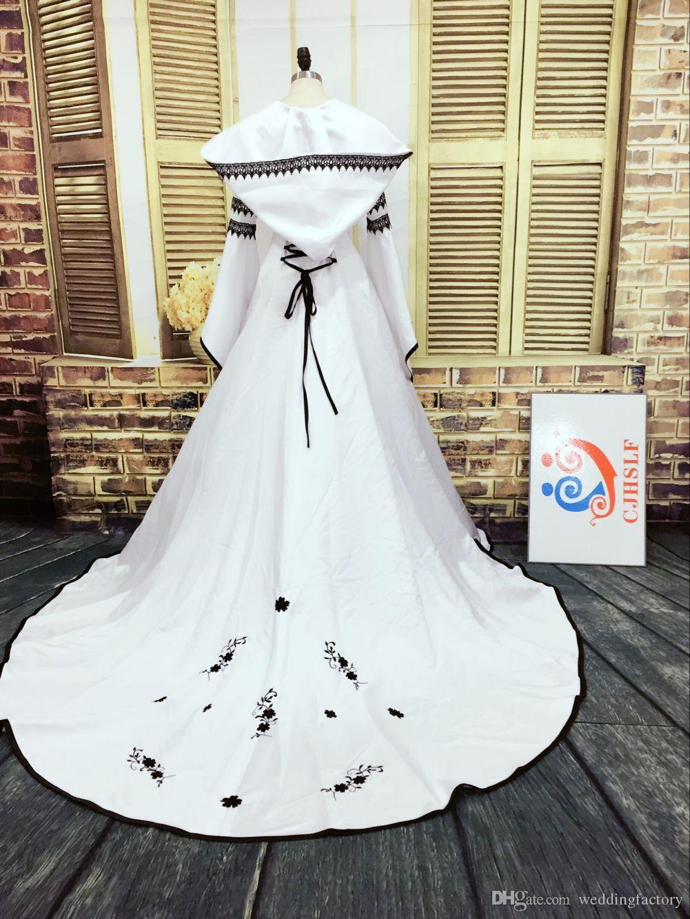 Real Picture Gothic Wedding Dress Black and White Muslim Dresses with Hat Exquisite Embroidery Lace Appliques Bridal Gowns Bell Sleeves