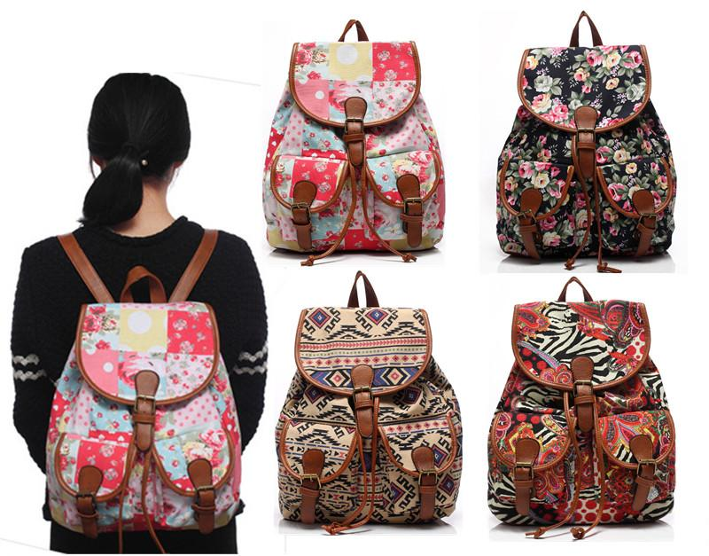b75ff164e4b5 2016 Vintage Bohemian Canvas School Bag Drawstring Backpacks For Girls  Teenagers Men Bags Leather Rucksack From Henyun technology