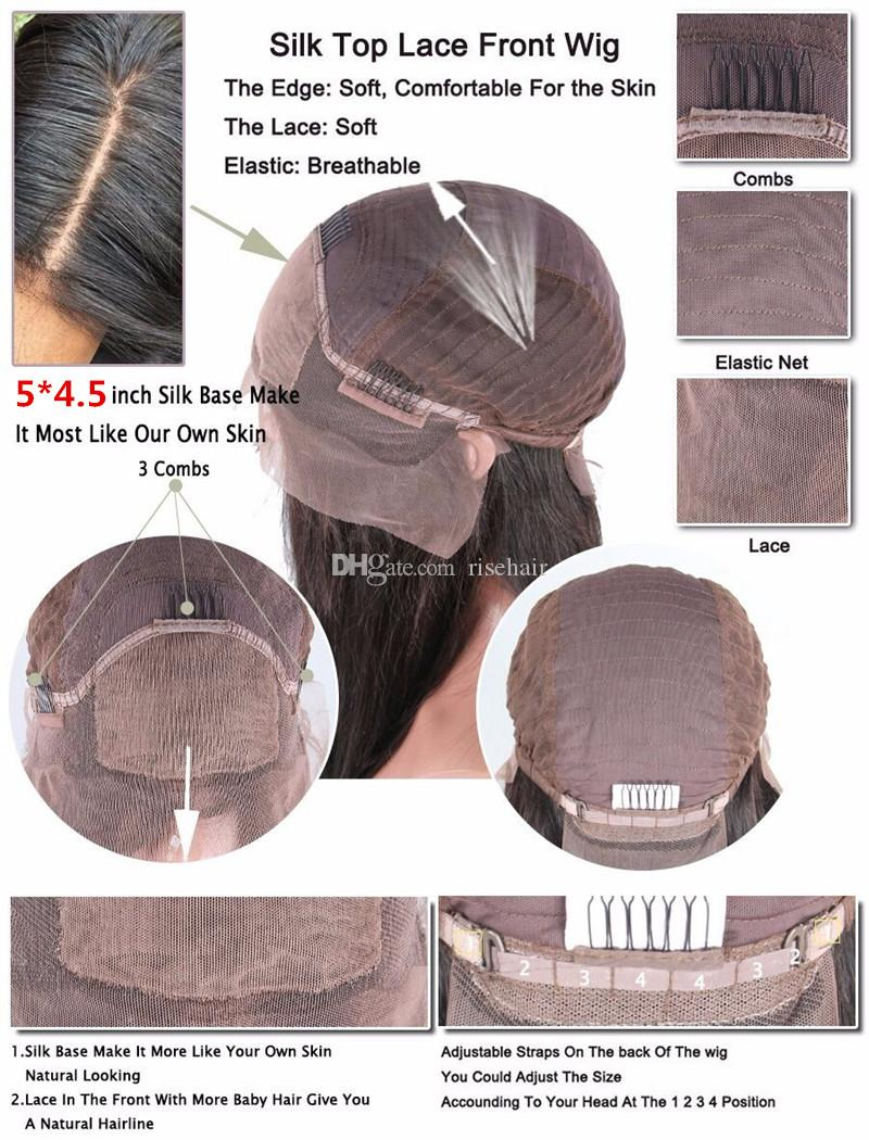 Hot Sale Unprocessed Peruvian Human Hair Light Yaki Straight Bleached Knots Silk Top Full Lace Wigs With Baby Hair