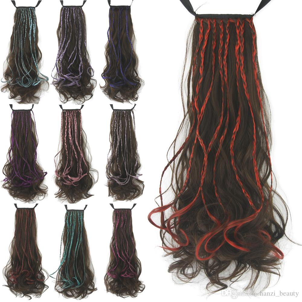 Long Wavy Women Ribbon Band Type Hair Synthetic Hair Ponytails Hairpience Clip In Hair Extension