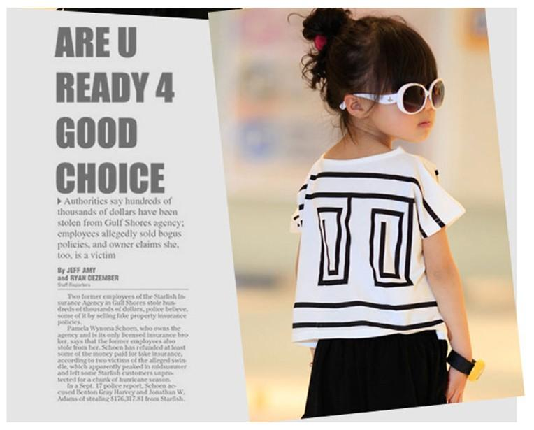 2018 Summer Big Girls Ubrania Zestawy Dzieci Krótki Rękaw Loose Bat T-Shirt + Czarne Spodnie Harerem 2 sztuk Dzieci Stroje Dziewczyna Casual Garnitury 100-160cm