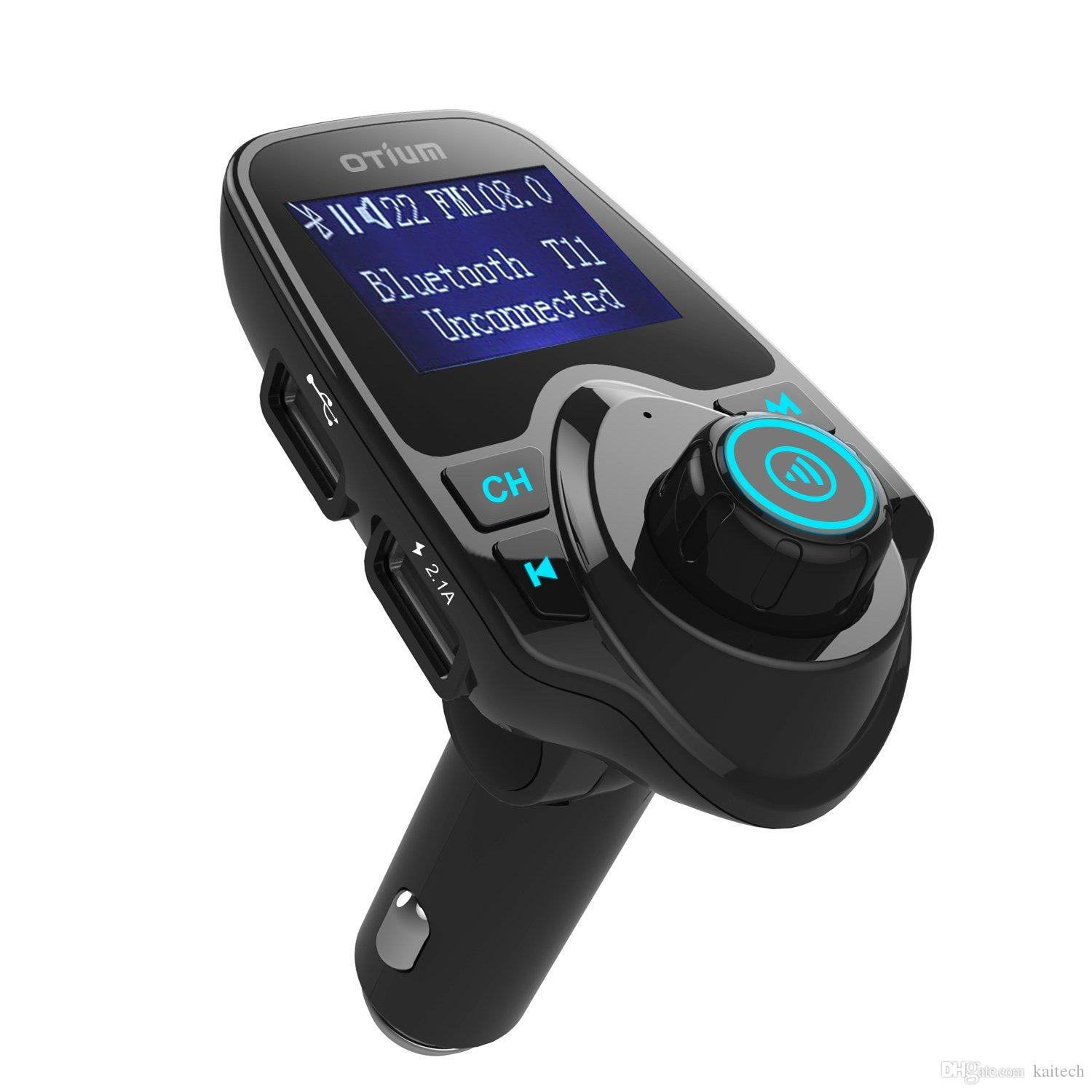 2016 t11 handsfree bluetooth car kit fm transmitter modulator car mp3 player dual usb charger support aux tf card u disk