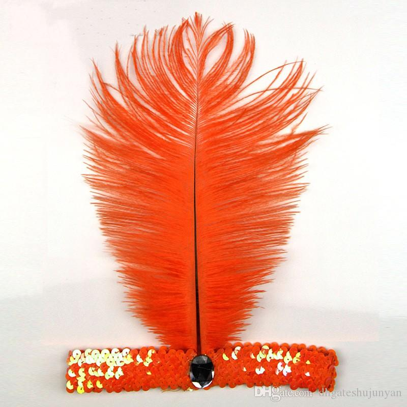 Avestruz Feather Headhand Carnaval Fiesta en casa 1920's Flapper Sequin Charleston Disfraz Ostrich Feather Headband Indian Feather Tocado