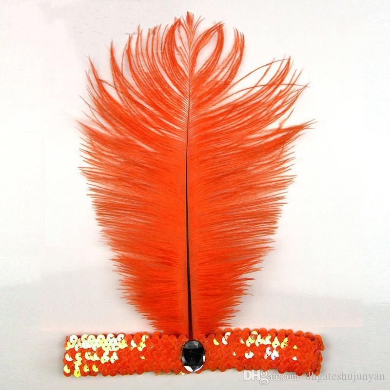 타조 깃털 Headhand 카니발 홈 파티 1920 's 플래퍼 스팽글 Charleston 제복 타조 깃털 머리띠 인디언 깃털 머리 장식