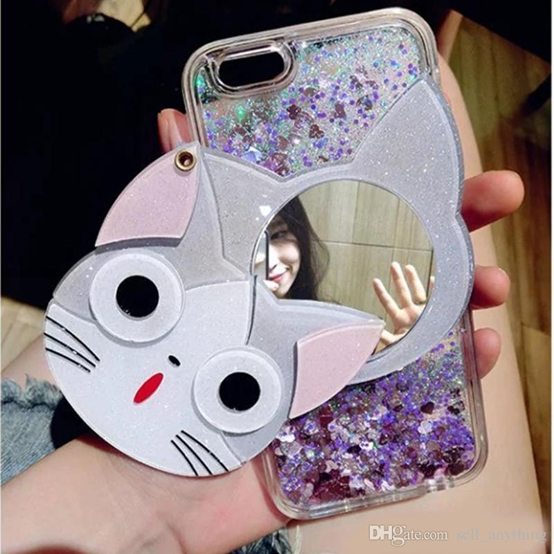 Bling Cartoon Cell Phone Cases Hello Kitty Cats Phone Covers with Mirror for iphone 7 7plus 6S 53