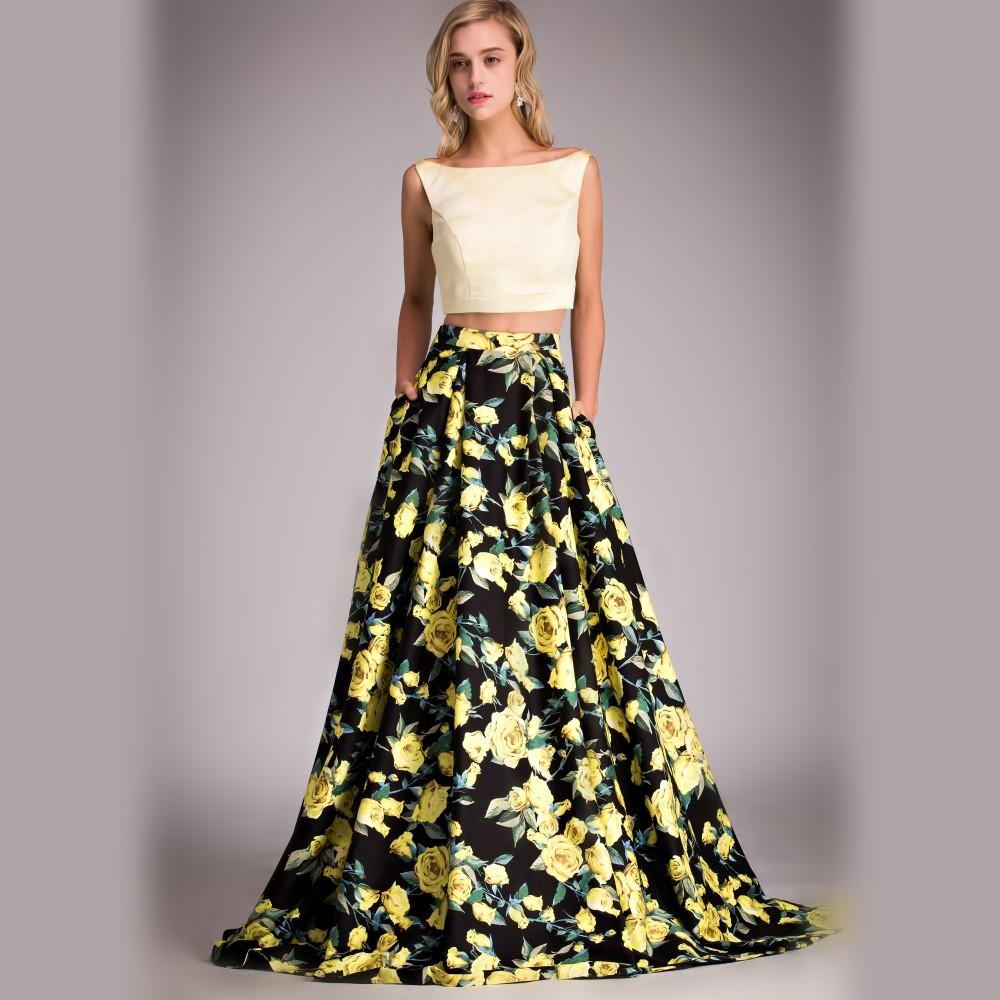 Real Picture Fitted Flower Print Prom Dress Yellow Black Two Piece ...