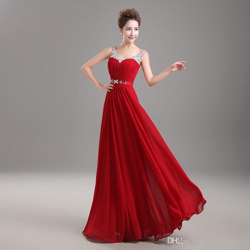 Бисером Кристалл V Шеи Длинные Шифон Вечернее Платье 2017 Бордовый Красный Черный Длинные Платья Невесты Элегантный