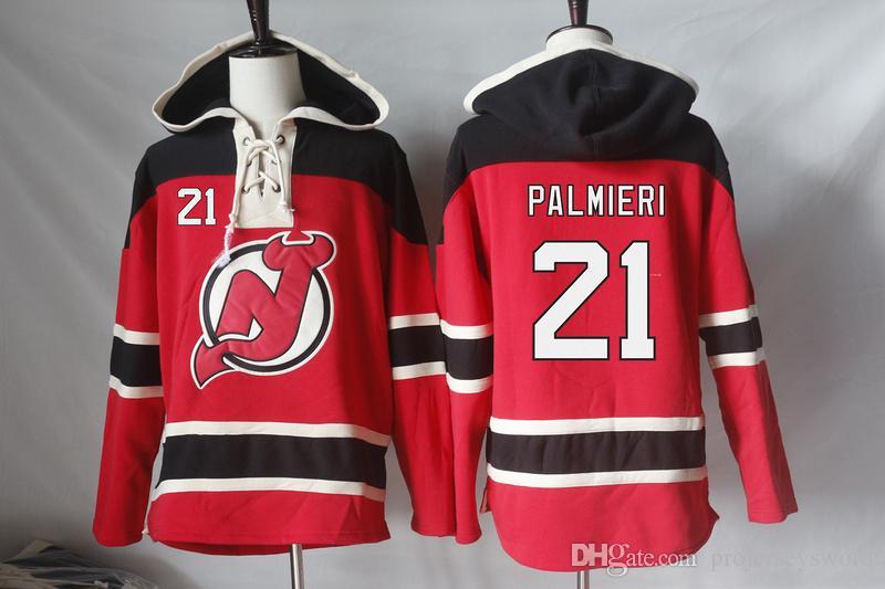 New Jersey Devils Jerseys en blanco 21 Kyle Palmieri 11 Stephen Gionta 64 Joseph Blandisi 68 Jaromir Jagr Sudaderas con capucha Cualquier número de nombre