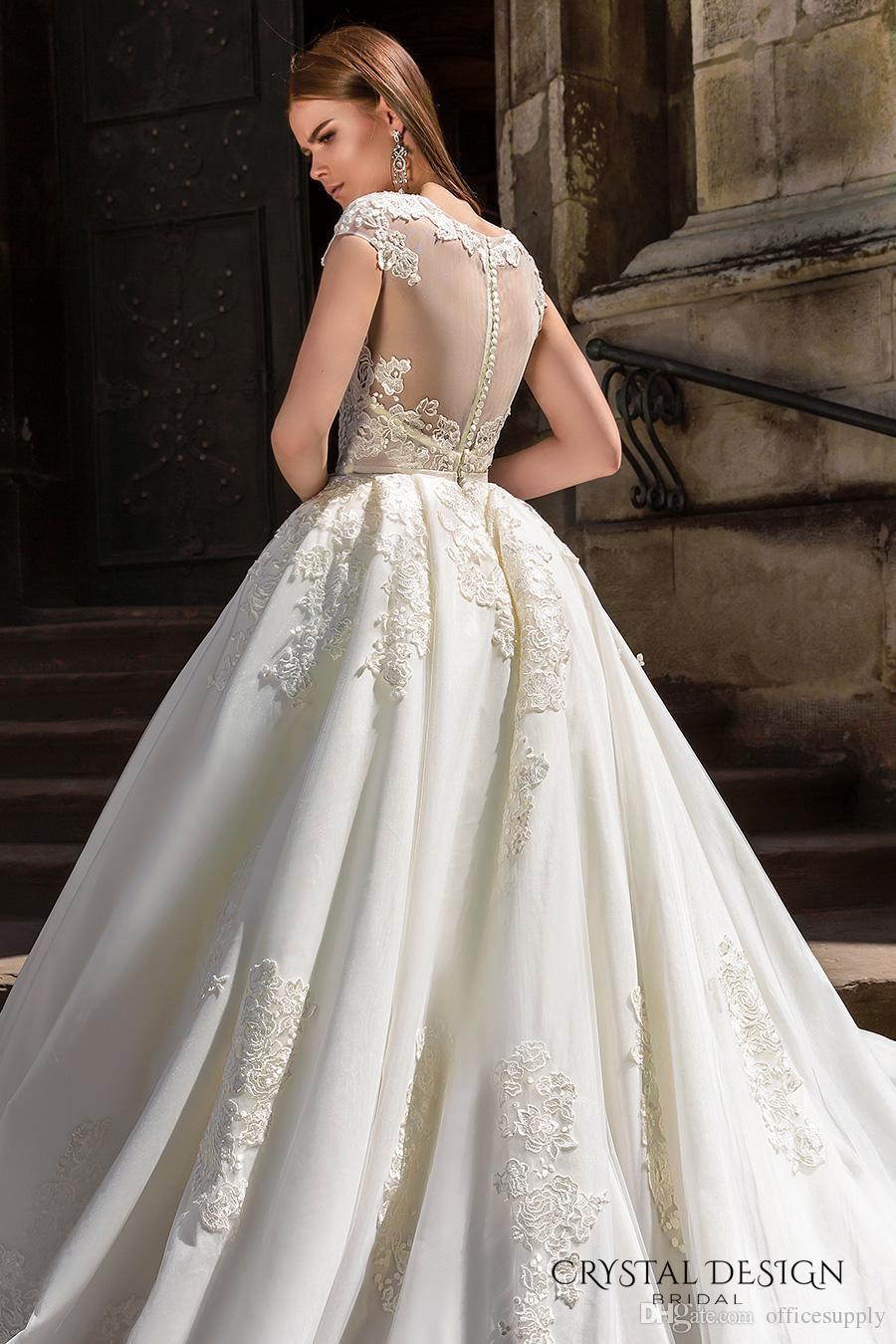 Vestidos De Noiva Свадебные платья класса люкс 2018 с короткими рукавами и кружевами из бисера Аппликация Соборное свадебное платье