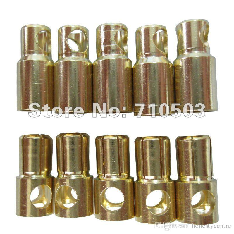 100 paia / lotto hot rc oro proiettile banana dorato 6.0mm connettore golden bullet rc plug (maschio / femmina)