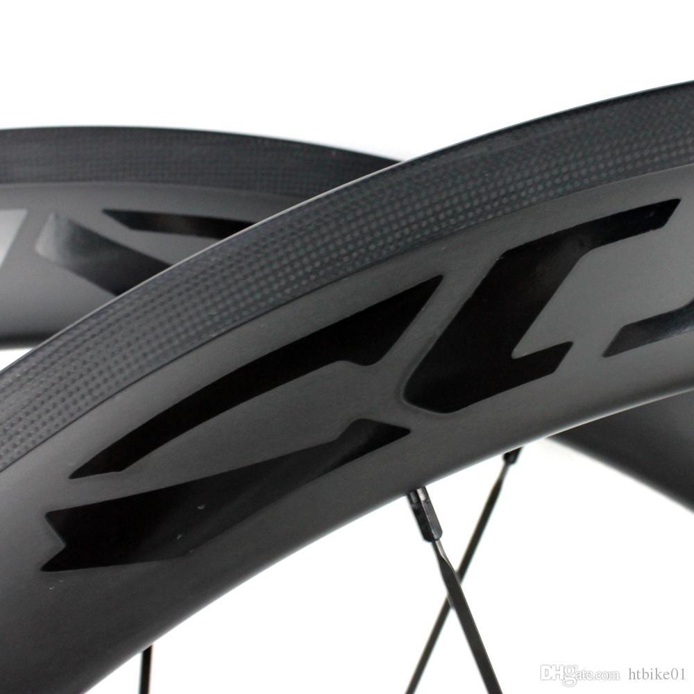 Yol bisikleti mat 50mm karbon jantlar tam karbon fiber jantlar tam karbon fiber tekerlek ile dimi örgü, customed çıkartması