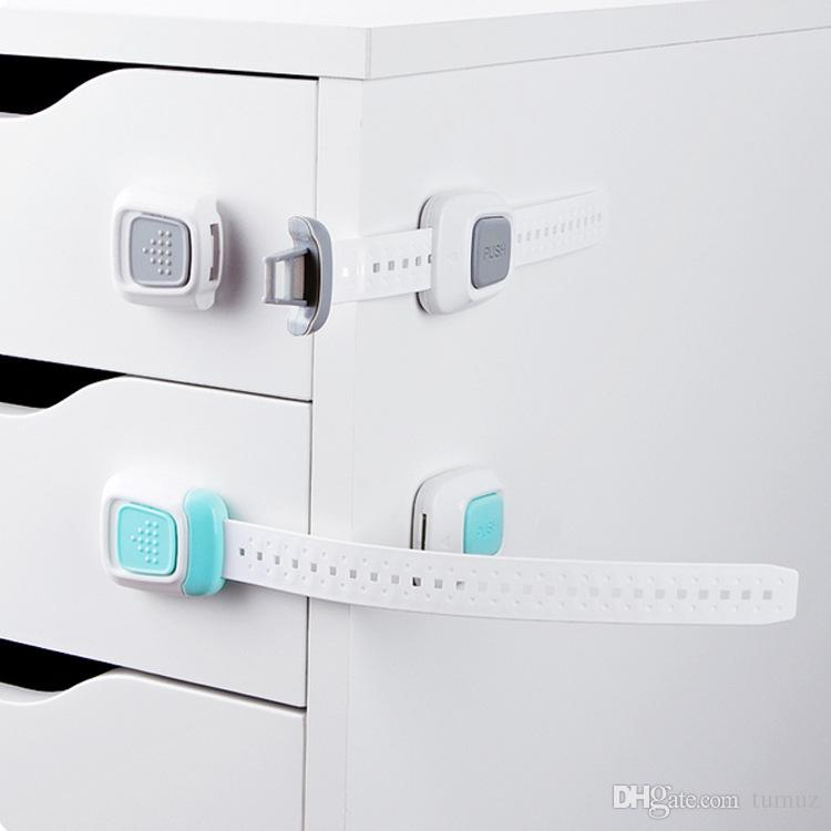 Multi-function double button, baby anti-folder hand cabinet door lock, refrigerator lock, child safety protection drawer lock,