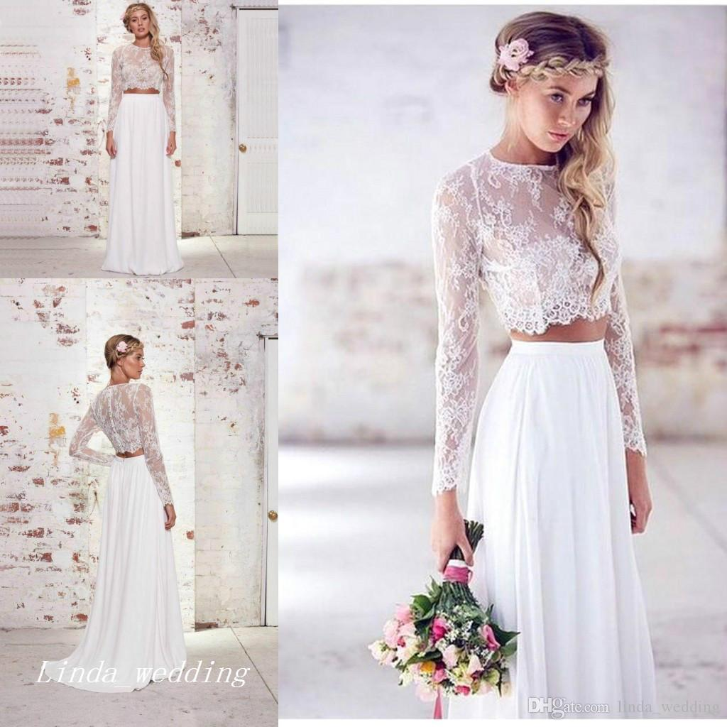 Discount 2017 Cheap White Boho Wedding Dress High Quality Chiffon Lace Summer Beach Bohemian Long Sleeves Bridal Party Gowns Plus Size Sheath