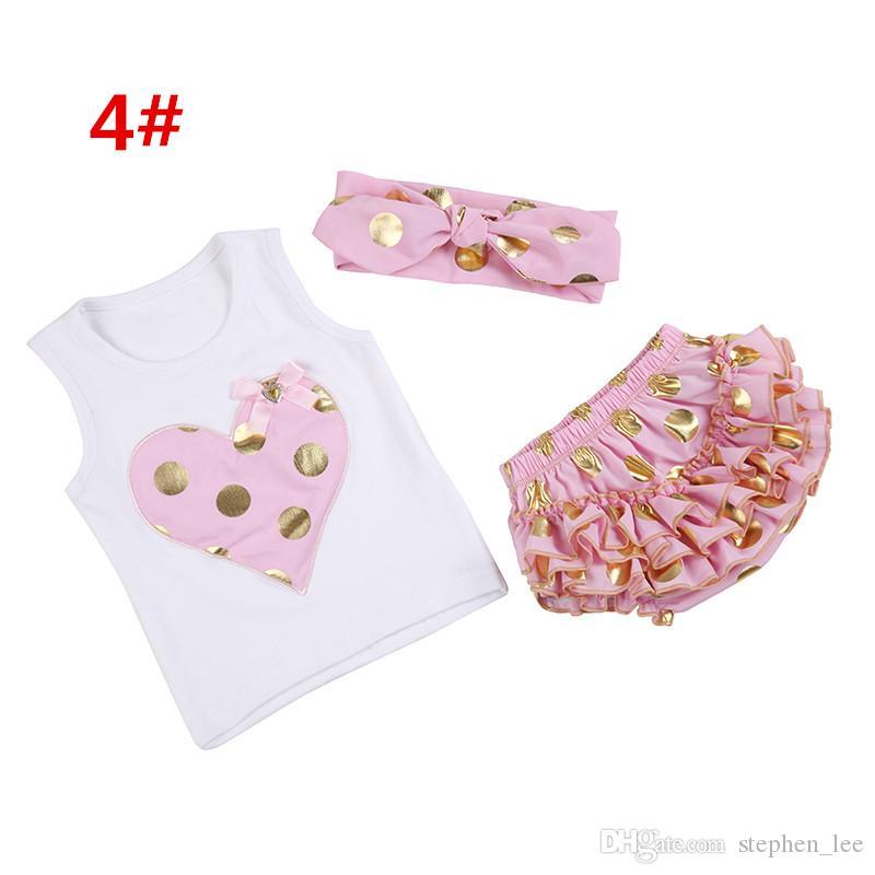 2016 новорожденных девочек лето золото горошек Одежда наборы девочка без рукавов сердце жилет футболка+ободки+кружева рябить шорты 3 шт. дети набор