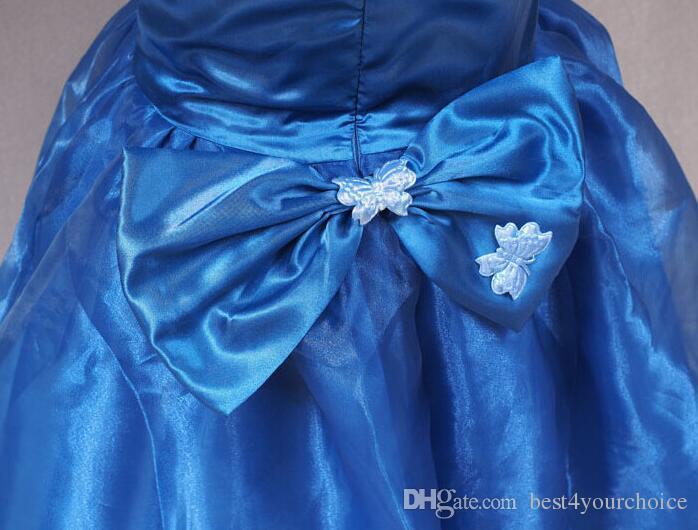 Le più nuove ragazze abiti da ballo di Cenerentola vestono i bambini senza maniche lunghezza del pavimento farfalla tutu gonne la festa nuziale spettacolo di ballo della ragazza vestito