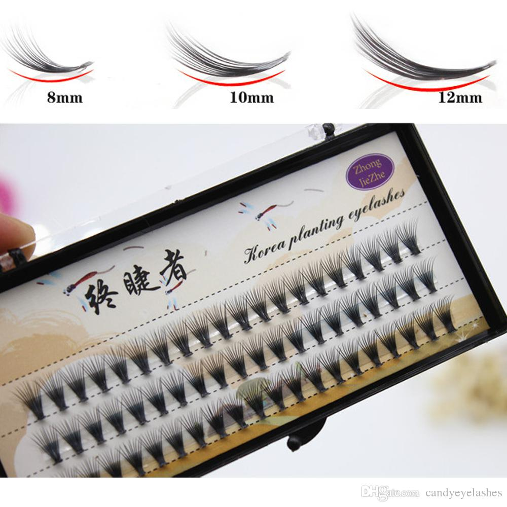 thickness 0.05mm 20 hair/cluster Flare Knot Free Silk eyelash Natural Long Black Individual Eyelash Extension Synthetic Extension Kit