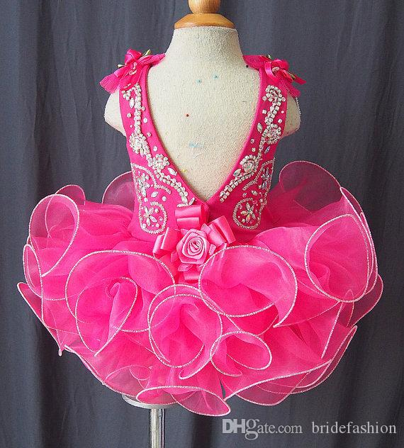 Scoop bow beads band made flower fuchsia backless cheap cupcake little girls pageant dresses kids toddler glitz prom Infant ball gowns
