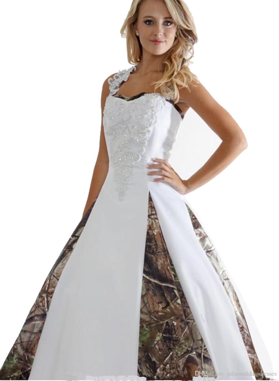 Heißer Verkauf 2018 Neue Brautkleider Mit Appliques Ballkleid Lange Camouflage Hochzeit Kleid Brautkleider Q03