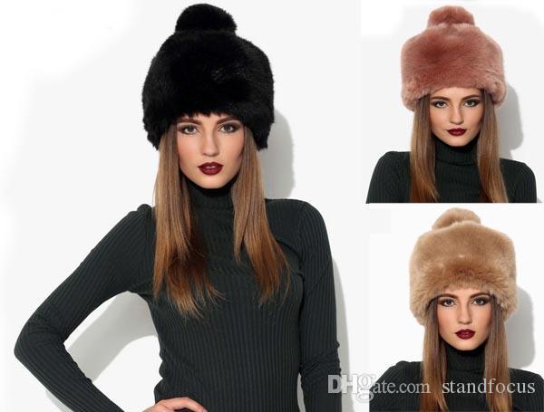 Stand Focus Women Faux Fur Pillbox Russian Cossack Beanie Hat Cap Ladies  Fashion Stylish Winter Pom Pom Thick Warm Black Pink Khaki Beanies Fedora  Hat From ... 6aab5744d56