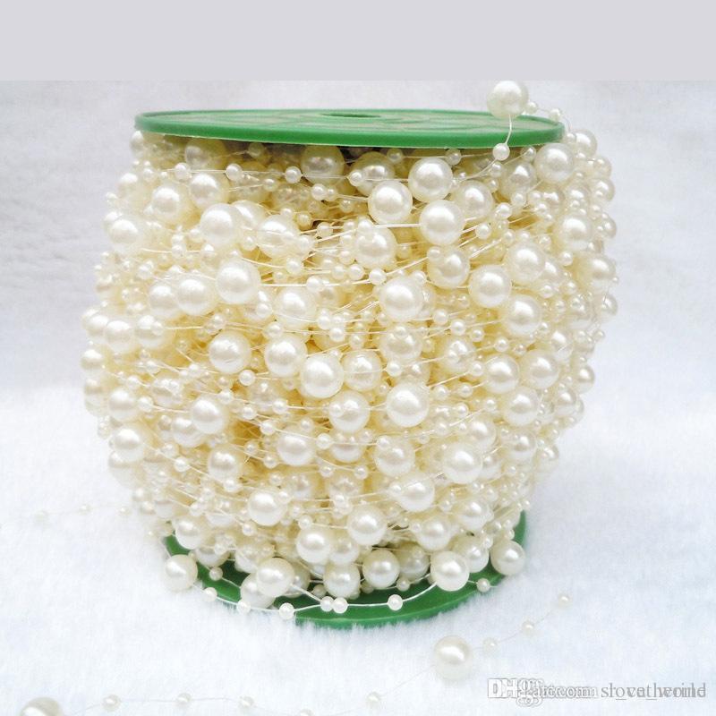 White Pearl Beads Strand Garland Acrylic Wedding Pearl: 75M/Roll White Pearl Beads Chain String Strand DIY Craft