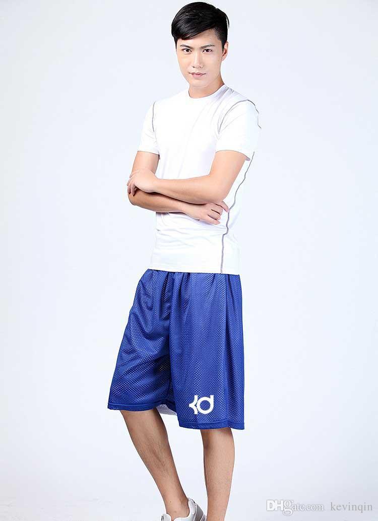 العلامة التجارية KD الرياضة برمودا كرة السلة شورت صيف الرياضة رقيقة على الوجهين طول الركبة مرونة تشغيل لعبة رجل السراويل السفينة حرة