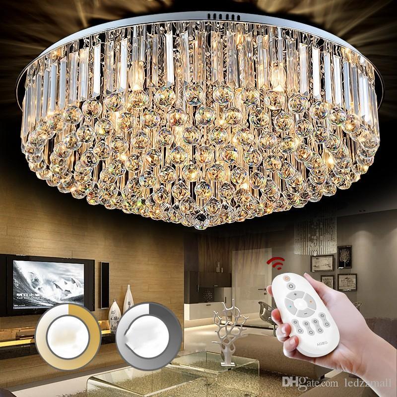 Großhandel Runde Deckenleuchte Warm Zimmer Einfache Wohnzimmer Schlafzimmer  Kristall Deckenleuchte Für Wohnzimmer Schlafzimmer K9 Glanz Kristall ...