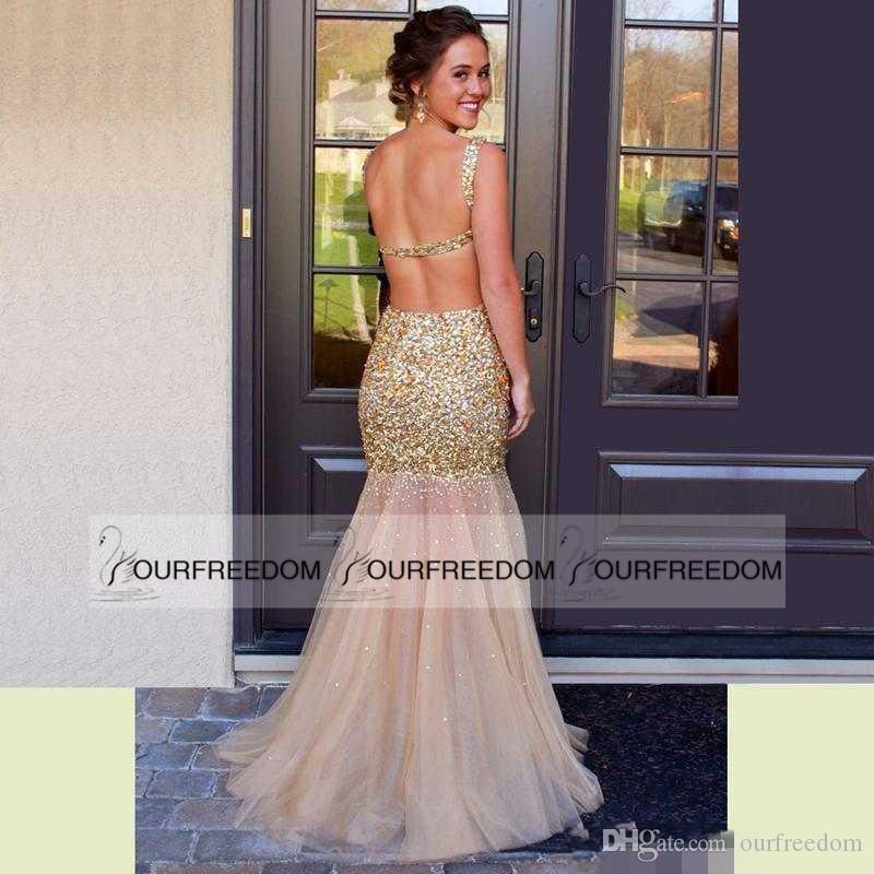 De tirar o fôlego Frisado Sereia Vestidos de Baile 2019 Sexy Aberto de volta Sheer Jewel Neck Tule de Ouro Até O Chão Formal Vestido de Festa À Noite